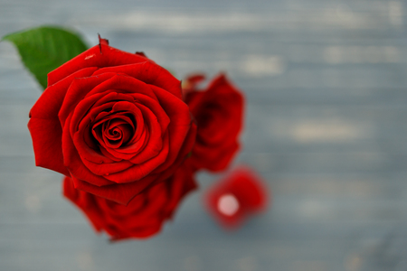 wedding proposal with red roses and a ring