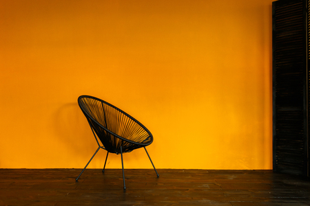 One black Chair and Orange empty modern interior
