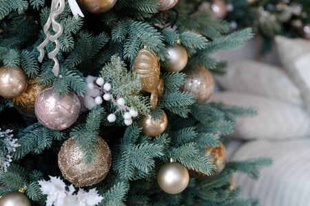 Beautiful Christmas Balls Hanged On The Christmas Tree Branch