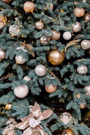 Christmas Balls And Decorations On A Beautiful Christmas Tree. Decorated Christmas Interior. Place For Text. Imagens