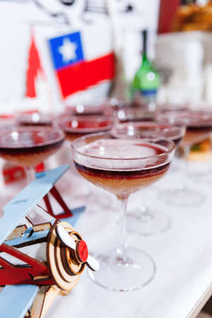 Close up of glasses of New York sour cocktail on the holiday