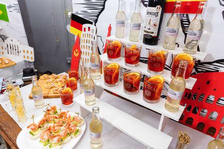 Fresh cocktails with orange zest, closeup 免版税图像