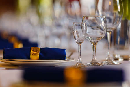 Wine glasses and champagne flutes on table, Wedding decor.