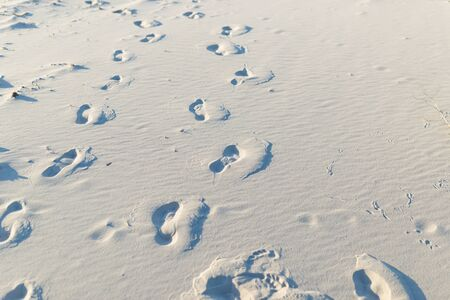 Footprints on the white sand in the desert.