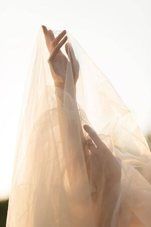 Bride's hand under the long veil with white gold engagement ring 免版税图像