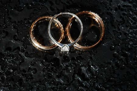 Diamond Rings In Black Close Up Shot