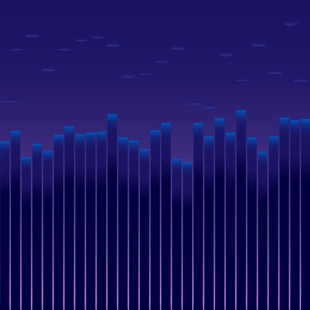 The city before sunrise. Background for text. It looks like an equalizer, the amplitude of sound, the volume of trading on the exchange.