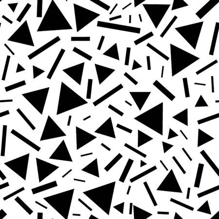 Triangles and lines seamless pattern. Monochrome chaotic triangles and short lines. Abstraction for printing, rolls, paper, membranes, fabrics, gifts, etc.