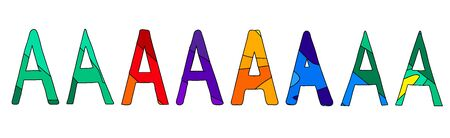 Letters A. Multicolored colorful contrasting cartoony letters. Funny symbols. Set 8 in 1.