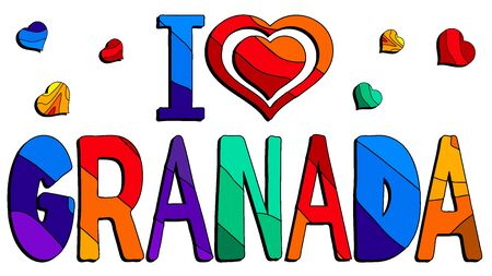 I love Granada - cute multocolored inscription. Granada is the capital city of the province of Granada, in the autonomous community of Andalusia, Spain. For banners, posters and prints on clothing (T-shirts).  イラスト・ベクター素材