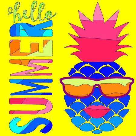 Crazy pineapple with lips and sunglasses and lettering Hello summer. Colorful cartoon vector illustration on yellow background.
