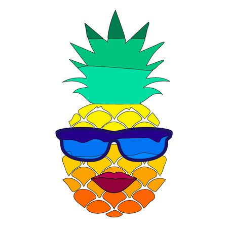 Cheerful cartoon pineapple with red lips and sunglasses. Vector isolate funny cartoon drawing. Summer mood.