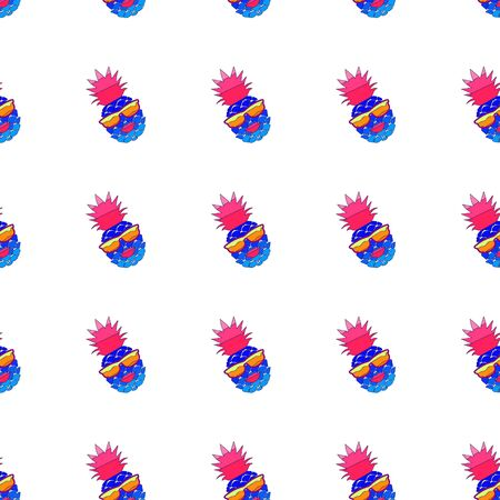 Crazy pineapple with lips and sunglasses. Seamless Pattern. Colorful cartoon vector illustration.