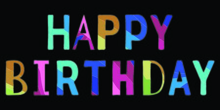 Happy Birthday - funny cartoon multicolor inscription. Color isolate lettering on black background. Illustration for banners, posters and prints on clothing.