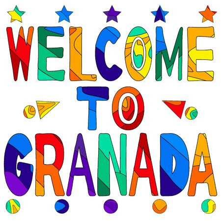 Welcome to Granada - cute multocolored inscription. Granada is the capital city of the province of Granada, in the autonomous community of Andalusia, Spain.  イラスト・ベクター素材
