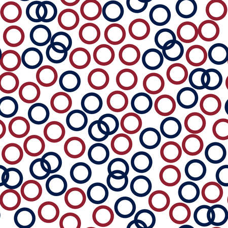 Dark red and blue circles (rings) - seamless pattern. 60s style texture. Some blue rings intersect, red separately.