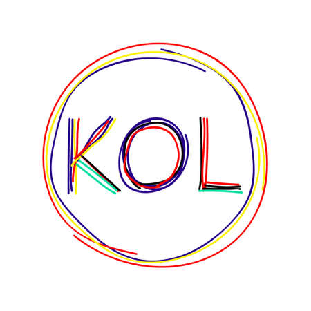 KOL abbreviation of Key Opinion Leader, influencer concept, frame around the word. Multi-colored curved lines like from a felt-tip pen. New social media marketing in digital world.