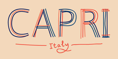 Capri Italy. Isolate doodle lettering inscription from multi-colored curved lines like from a felt-tip pen or pensil. Calm colors. Capri is island and resort in Italy. For banner, poster, card, print, clothing.