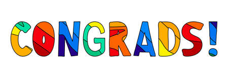 Congrats! Horizontal multicolored funny cartoon isolated inscription. Bright colors - red, orange, yellow, green, blue. Congrats for banners, flyers, cards, souvenirs and prints on clothing.