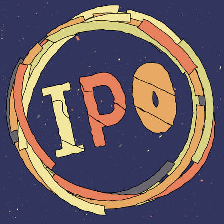 IPO abbreviation of Initial Public Offering, business concept, funny cartoon frame around the word. Orange, yellow, gray colors. Isolate stock vector illustration.