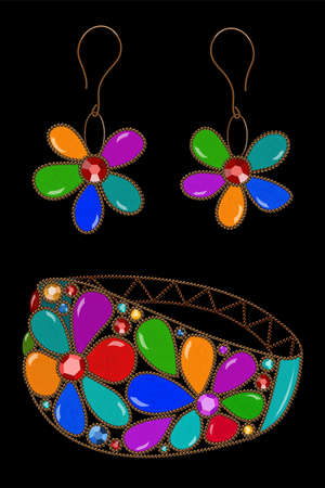 Vector realistic illustration of pretty handmade vintage bracelet and earrings with colorful beads and rhinestones isolated on black background