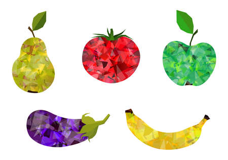 Set Of 5 Stylized Abstract Gemstone Colorful Fruit And Vegetables Vector Illustration Isolated On White Background