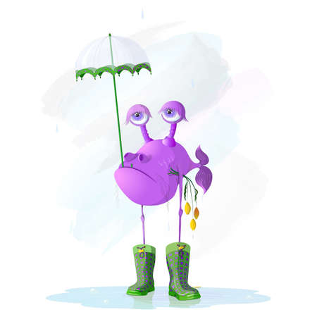 Vector Illustration Of Comic Cartoon Sad Fish Boyfriend Holding Transparent Umbrella And Faded Tulips Waiting For A Girlfriend For A Dating In Rainy Cloudy Day Ilustração