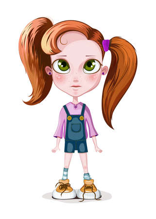 Vector illustration of a little girl cartoon character with big green eyes and foxy ponytail hair style