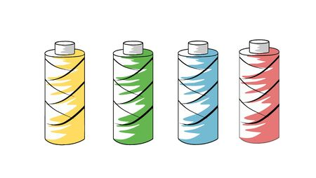 A set of multicolored threads for sewing things. A spool of thread. Vector illustration on a white background.