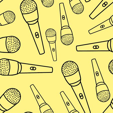 Vector model with a contour image of the microphone. Illustration of a black outline on a white background. Vettoriali