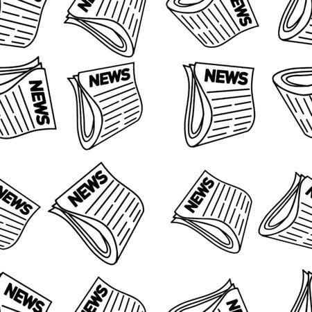 Vector Pattern with contour Newspapers. Illustration of a black outline on a white background.