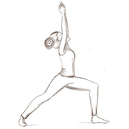 Yoga. The girl stands in the pose of a warrior. Contour drawing of a girl who goes in for sports. Illustration on a white background.