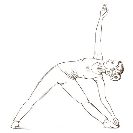 Yoga. The girl stands in the utthita trikonasana pose. Contour drawing of a girl who goes in for sports.