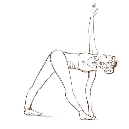Yoga. The girl stands in the parivritta trikonasana pose . Contour drawing of a girl who goes in for sports.