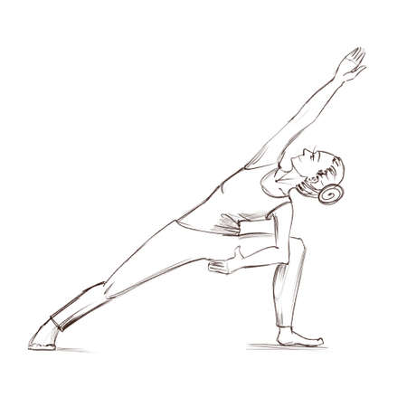 Yoga. The girl stands in the parshvakonasana pose. Contour drawing of a girl who goes in for sports.