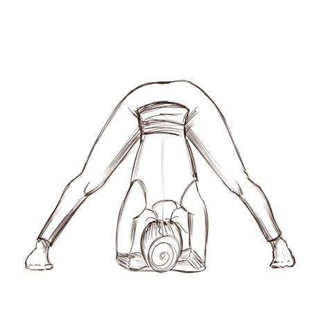 Yoga. A girl stands in a pose of prasarita padottanasana pose. Contour drawing of a girl who goes in for sports.