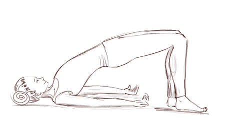 Yoga. The girl is lying in the position of the bridge floor . Contour drawing of a girl who goes in for sports. 스톡 콘텐츠