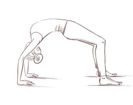 Yoga. The girl stands in the bridge pose. Contour drawing of a girl who goes in for sports.