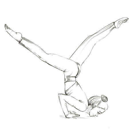 Yoga. The girl is standing on her hands, arms bent at the elbows, legs spread apart. The girl keeps the balance. Contour drawing of a girl who goes in for sports. 스톡 콘텐츠