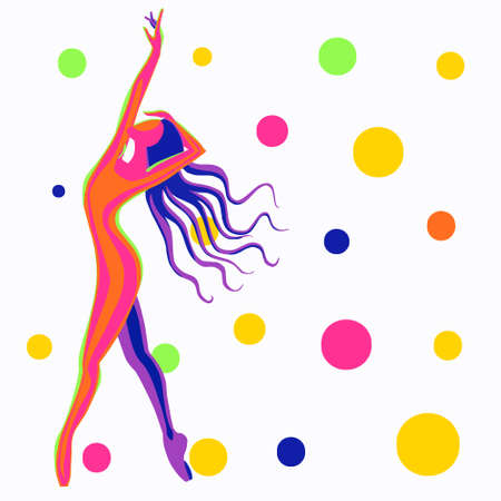 Multi-colored abstract with a dancing girl with balloons. Vector illustration on a white background. Illustration