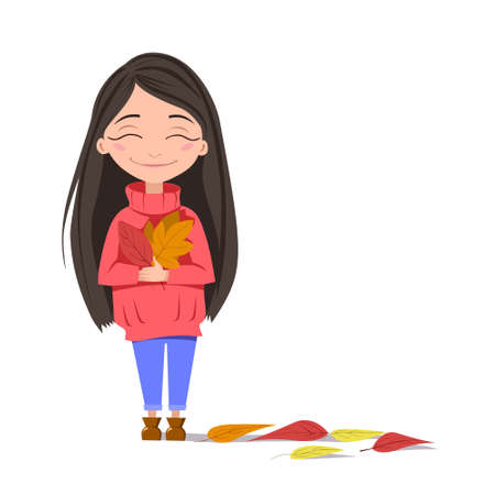 A girl with a smile holds autumn leaves in her hands. A dark-haired girl in a red sweater. Autumn greetings of the season. Vector illustration on an white background. Stock image