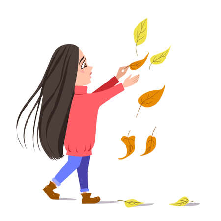 Vector flat illustration of a dancing girl in falling leaves. a dark-haired girl in a red sweater. Autumn greetings of the season. Isolated on a white background. Stock illustration Ilustracja