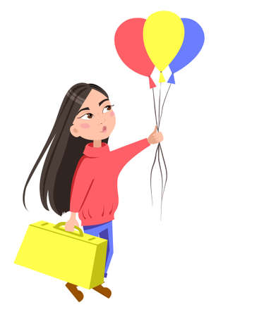 A dark-haired girl is flying with a suitcase and balloons. Vector illustration on an isolated white background. Stock image