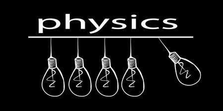 White outline of light bulbs on a black background. Light bulbs are like a pendulum. The inscription physics. School subject, science. Stock image.