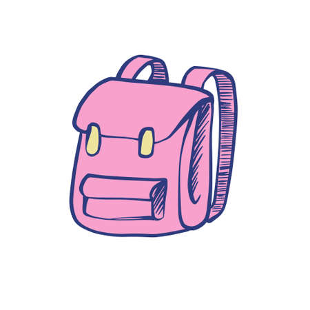 Color illustration of a pink school backpack. Stock vector illustration on a white isolated background. for icons in social networks.