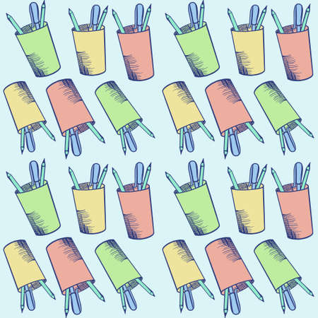 Pattern of multicolored cups with pencils. Stock vector illustration on a blue isolated background. For fabric, cover, background.