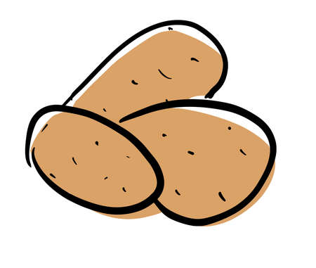 Fresh crop of potatoes. Stock vector illustration on a white isolated background. For a logo, for icons in social networks.
