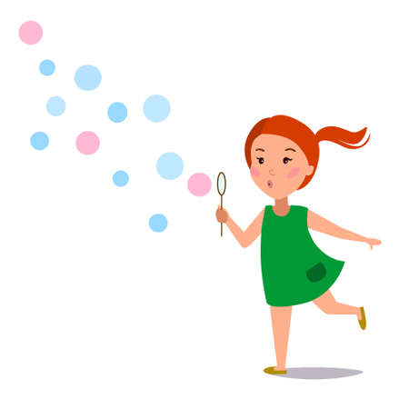 A little girl inflates soap balls. Happy child runs. Vector illustration on a white isolated background. Stock image.