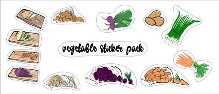 Vegetable set of stickers. Fresh harvest. Vector illustration on a white isolated background.