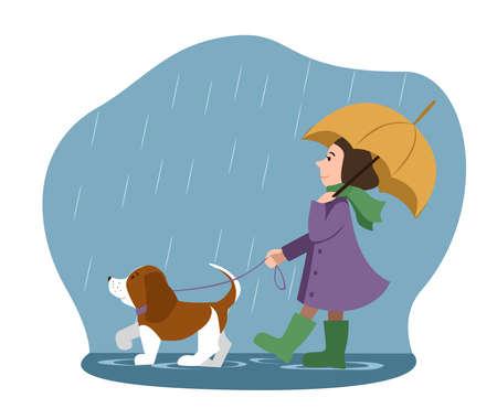 a beautiful little girl and a cute cartoon dog under an umbrella. the autumn theme. rainy weather. Vector illustration. Иллюстрация